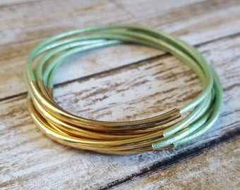 Leather Bracelet - Leather Bangle - Metallic Mint & Gold  Bangle - Boho Jewelry - Gypsy Style - Bohemian Accessories - Boho Bracelets