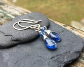 Kyanite Gemstone Sterling Silver Dangle Earrings - Handmade Wirewrap Jewelry - Gem Stone Teardrop - Shepherds Hook Earwire - Leverback Hooks