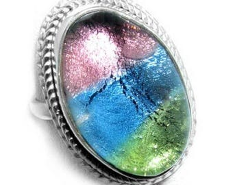 Murano Glass and Sterling Silver Ring Size 6.75