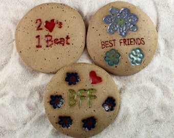 Painted Rocks, Best Friends, BFF, 2 Hearts One Beat Set of 3 Ceramic Message Stones, Rock Art, Inspirational Art, Pocket Stone