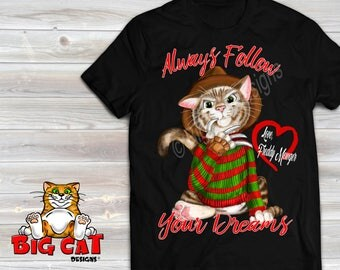 Freddy Mewger Cat.  Black, White or Gray Color Freddy Krueger Parody Halloween Shirt. Halloween Cat Shirt.