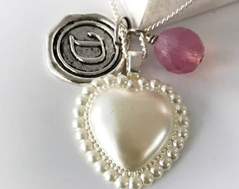 Personalized Heart Necklace- silver and pink - personalized necklace - Custom Initial Necklace with vintage heart cabochon