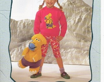 Dinosaur Sweater and Toy Knitting Pattern for Children 20 - 26 inch chest 1 to 7 years. Original