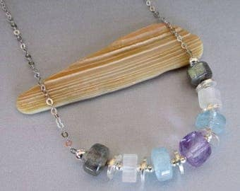 Labradorite Rainbow Moonstone Amethyst Aquamarine Silver Necklace