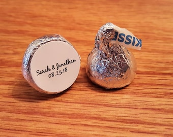 """Personalized Wedding Hershey Kiss Favor Labels Stickers Round Glossy 0.75"""""""
