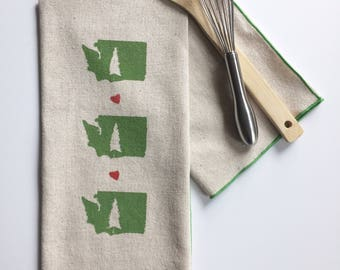 With Love from WA Block Printed Handmade Tea Towel-100 % cotton kitchen towel-WA State pride-Gift for clients