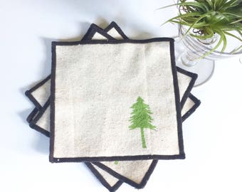 Evergreen Tree Cocktail Napkin Set of Four-Handmade in Seattle- 100% cotton cloth coaster