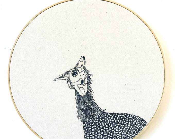 Featured listing image: Freehand Machine Embroidered  Helmeted Guineafowl Portrait