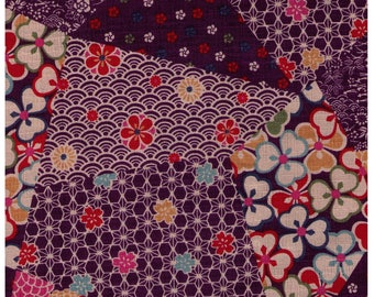 HALF YARD Traditional Cheater PURPLE Colorway - Cotton Dobby - Geometric Diamond Asanoha Sakura Cherry Blossom Japanese Design Cosmo Textile