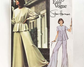 Vintage 70s Stan Herman Vogue Pattern Very Easy Vogue 2977 34 Bust Palazzo Pants Shirt and Tunic