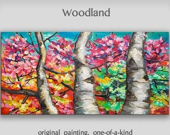 Sale Landscape Painting Wall art Original abstract painting Changing Season forest Oil painting art Modern decor Wall hanging by Tim Lam 48x