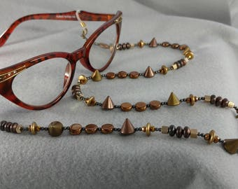 Reading Glasses or Eyeglasses Chain. Copper colors with studs.