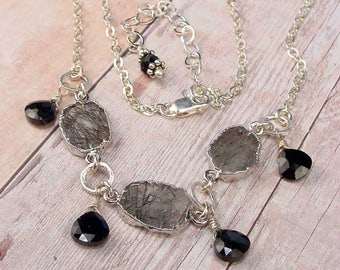"""BLAECLEAH """"…from the dark meadow"""" - OOAK One Of A Kind - Black Rutilated Quartz, Onyx, Sterling Silver Necklace"""