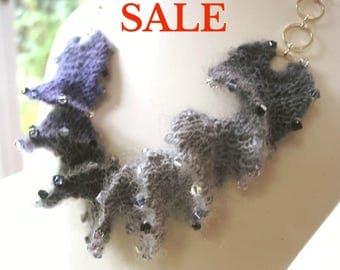S A L E - Yarn Spiral Necklace Knitting Kit - Lavender