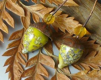Lampwork beads/SRA lampwork/beads/headpins/earring pairs/acorns/ fall/ autumn/copper beadcaps