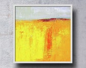 Mid-Century, Inspired, Oil Painting, Original, 6x6 Canvas, Yellow, Landscape, Gray, Textured, Wall Decor, Small Art, Square Format