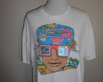 Closing Shop 40%off SALE Vintage Neon holographic hologram 3D     Beach Party     surfer    tee t shirt             rare unique