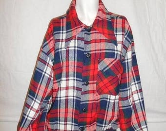 Closing Shop 40%off SALE 50s 60s Vintage Men's Bomber Jacket, red white blue Wool Plaid Jacket, Tartan