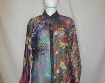 Closing Shop 40%off SALE 90s  Sheer Beaded Floral Shirt Blouse Top
