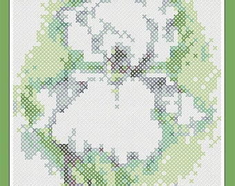 White Iris Watercolor Flower Cross Stitch PDF Pattern