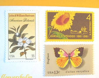 Golden Yellow Sunflower Butterfly Postage Stamps, Mail 10 Cards or RSVPs, 1 oz 49 cent stamps, Gold and White Floral Nature Postage Unused