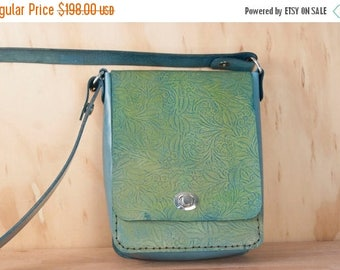 CLEARANCE SALE Small Leather Cross body Bag - Shoulder bag with Tooled Western Floral Pattern in Green and Blue - Womens Handbag