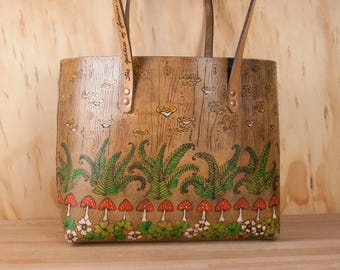Large Leather Tote Bag - Handmade Purse in the Ronja Pattern - Shamrocks, Toadstools, Ferns and Mushrooms - Brown Leather Handbag