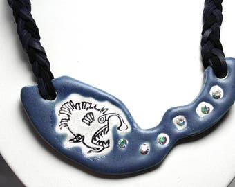 Angler Fish Necklace with Adjustable Length Braided Cord