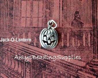 Jack-O-Lantern / Pumpkin, Halloween .925 Sterling Silver Charm