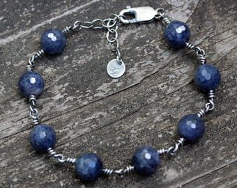 Natural sapphire sterling silver beaded bracelet