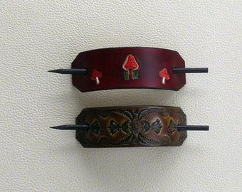 Retro Leather Hair Barrettes with Sticks, Leather Mushroom Barrette