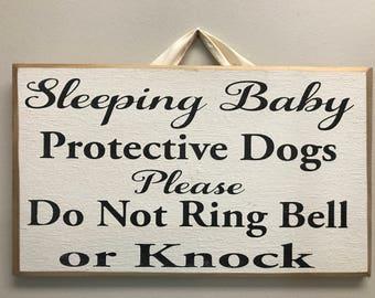 Sleeping baby protective dogs do not ring bell or knock please sign door hanger quiet zone new mother door hanger porch decor