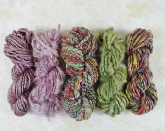 Gypsy Garden Handspun Art Yarn Mini Skein Collection Variety Pack 70 yards burgundy pink green