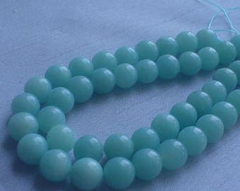 gemstone minty green amazonite smooth round bead 8 mm / 15 inch