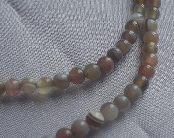 gemstone gray striped Botswana Agate smooth round bead 4 mm / 15 inch