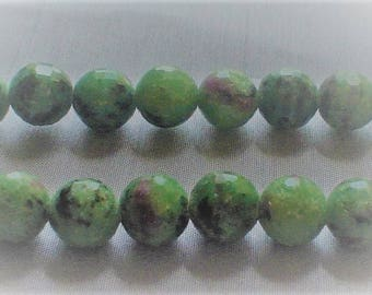 natural gemstone red and green Ruby Zosite facet round bead 10 mm / 7.5 inch