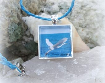 Heron Pendant, Bird Watcher, Handmade, Original Photo Pendant, Bird In Flight, Heron Jewelry, Heron Necklace, Nature Jewelry, Animal Pendant
