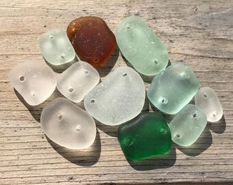 Sea glass links - Drilled sea glass - Frosted glass buttons - Beach glass - Glass Pendant - Bohemian Glass bead - Glasswork - Genuine