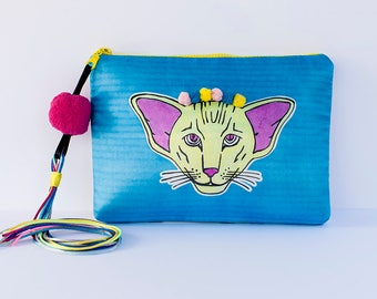 Clutch bag by Marta Fofi, bag with Cat, hand made bags, hand made purses, clutch bag, clutch handbag, evening clutch