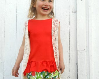 Orange Hi-Low Tank top with bottom ruffle for girls