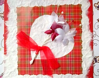 Luxury Wedding Love Card - Scottish Themed - Tartan and  Flowers - I Love You