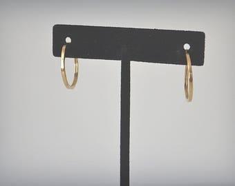 Gold Hoop Earrings, Vintage Hoop Earrings, 10KT Gold Earrings, Gold Earrings, Pierced Earrings, Hoop Earrings
