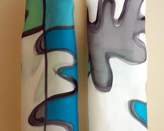 Hand Painted Silk Scarf. Matisse style silk scarf. Hand Painted Silk Shawl. 71x18 in. Wedding Gift. Ooak scarf.