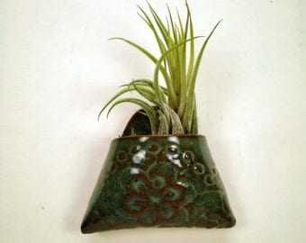 Ceramic Wall Pocket, Lace Flower Design, Air Plant Holder, Miniature Wall Hanging