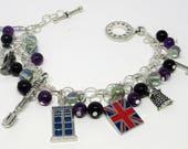 """Doctor Who Themed Charm Bracelet -  Sonic Screwdriver TARDIS Dalek """"Don't Blink"""" Purple BlackBeads"""