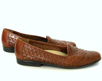 Women Shoes Sz 9N / Vintage Woven Loafers/ Caramel Brown Leather Shoes