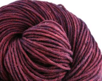 Hand Dyed Aran weight mini Empire Rambouillet Wool 213 yds 4oz Deep Amethyst