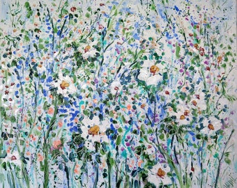 Oil painting  Abstract  24 x 20  Blue Abstract with White Poppies - FREE SHIPPING in US