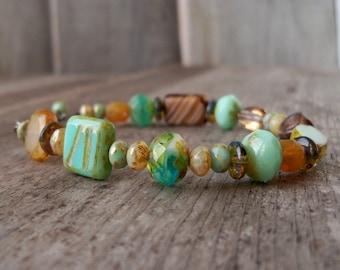 Boho Beaded Bracelet - Beaded Bracelet - Adjustable Bracelet - Boho Bracelet - Green Bracelet - Brown Bracelet - Green and Brown Bracelet