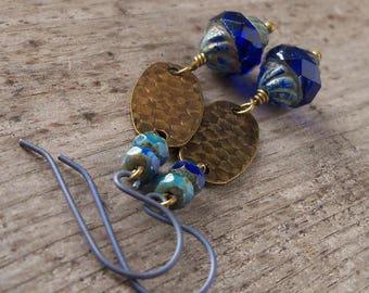 Hypoallergenic Earrings - Pure Titanium Earrings - Dangle Earrings - Bead Earrings - Sapphire Blue Earrings - Boho Earrings - Boho Jewelry